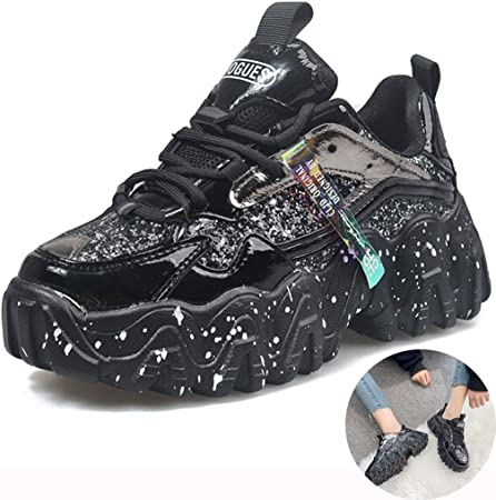 Zapatos Deporte Zapatillas Todoterreno De Primavera Zapatos para Correr De Diamantes De Imitación Zapatos para Caminar Transpirables para Mujer (Color : Black, Size : 5.5): Amazon.es: Hogar