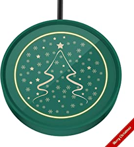 Coffee Mug Warmer, Cup & Coffee warmer Smart Thermostat Coaster for Hot Tea Beverage Office/Home Desk Use with Gravity Switch Auto On/Off 135F, Ring LED Indicator (Dark green-Christmas Tree)