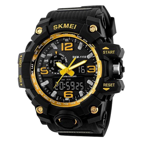 SKMEI Reloj Analógico y Digital con Diseño Deportivo para Hombre Reloj de Pulsera con Alarma y Esfera Grande con luz LED de Fondo: Amazon.es: Relojes