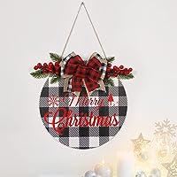 yitsulay Placa de Feliz Natal, Placa Redonda de Madeira para Pendurar Feliz Natal ao Ar Livre com Laço de Fita Rústica…