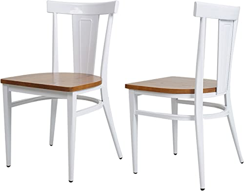 KARMAS PRODUCT 2 Pack Stackable Metal Dining Chairs w/Wood Seat,Indoor/Outdoor Bistro Cafe Side Chairs White