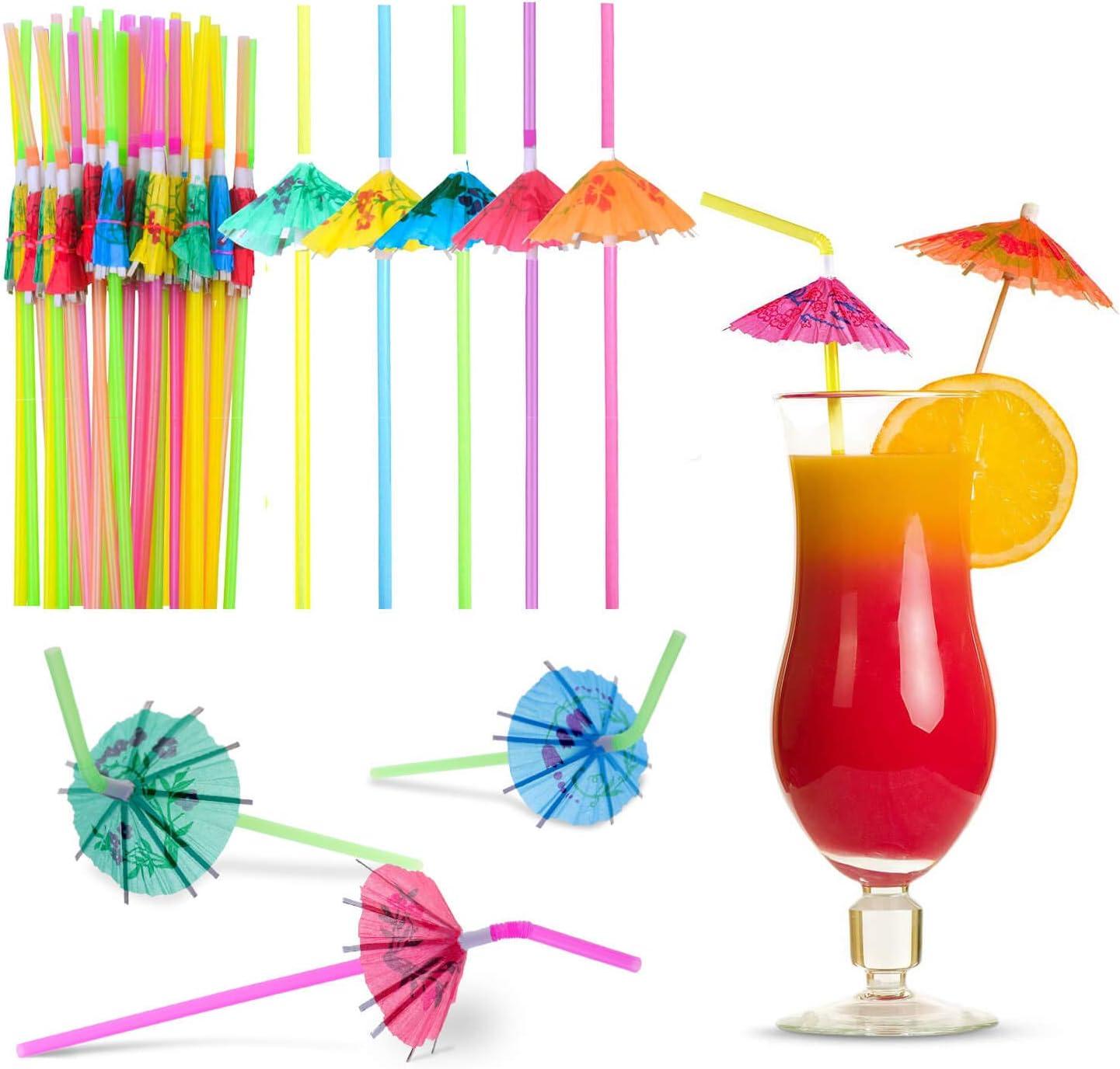Umbrella Straws for Drinks, Paxcoo 100pcs Umbrella Straws Hawaiian Luau Party Straws for Drinks Decorations (Assorted Colors)
