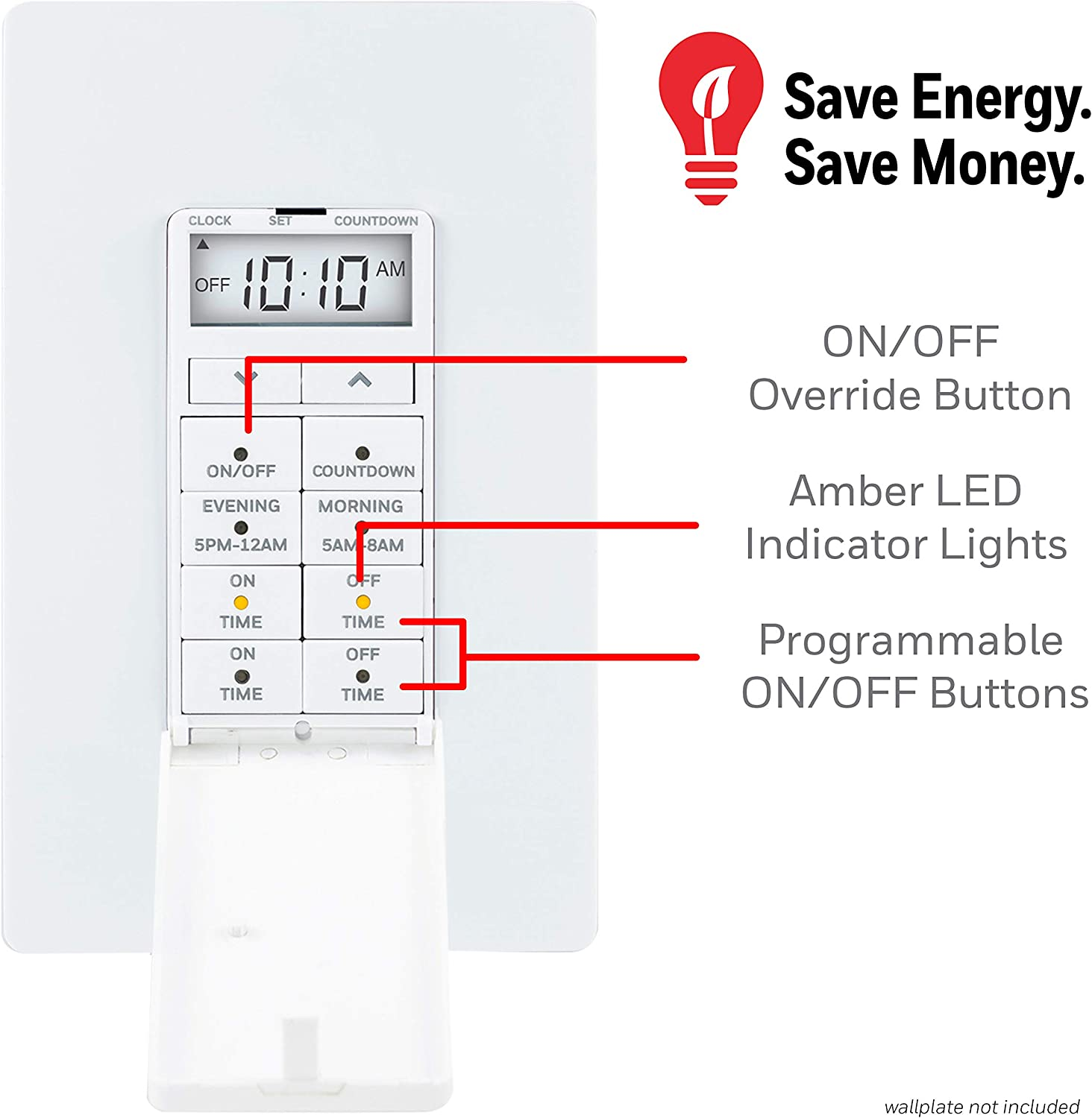 Programmable Ideal Honeywell 24-Hour Digital In-Wall Timer Switch Door Cover