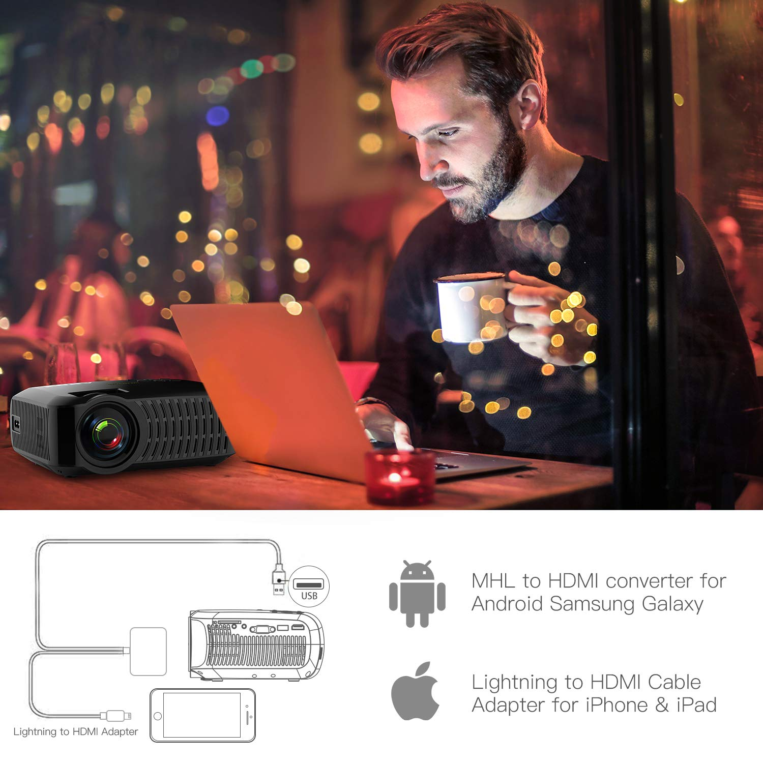 Projector, ABOX A2 LED Movie Video Projector with Full HD Native 720p, 100 ANSI Lumen, 180'' Big Screen, Hifi Speaker, Support 1080p with HDMI/USB/SD Card/VGA/AV Ports For Home Theater/Laptop/TV/Phones by GooBang Doo (Image #9)