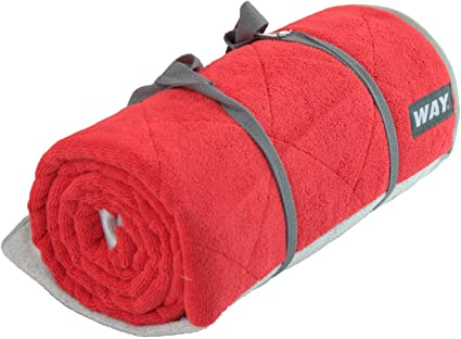 WAYmat Core Exercise Mat - Red - Thick All-Purpose Non-Slip Yoga Towel Mat, Perfect for Hot Yoga, Bikram and Pilates (Red)