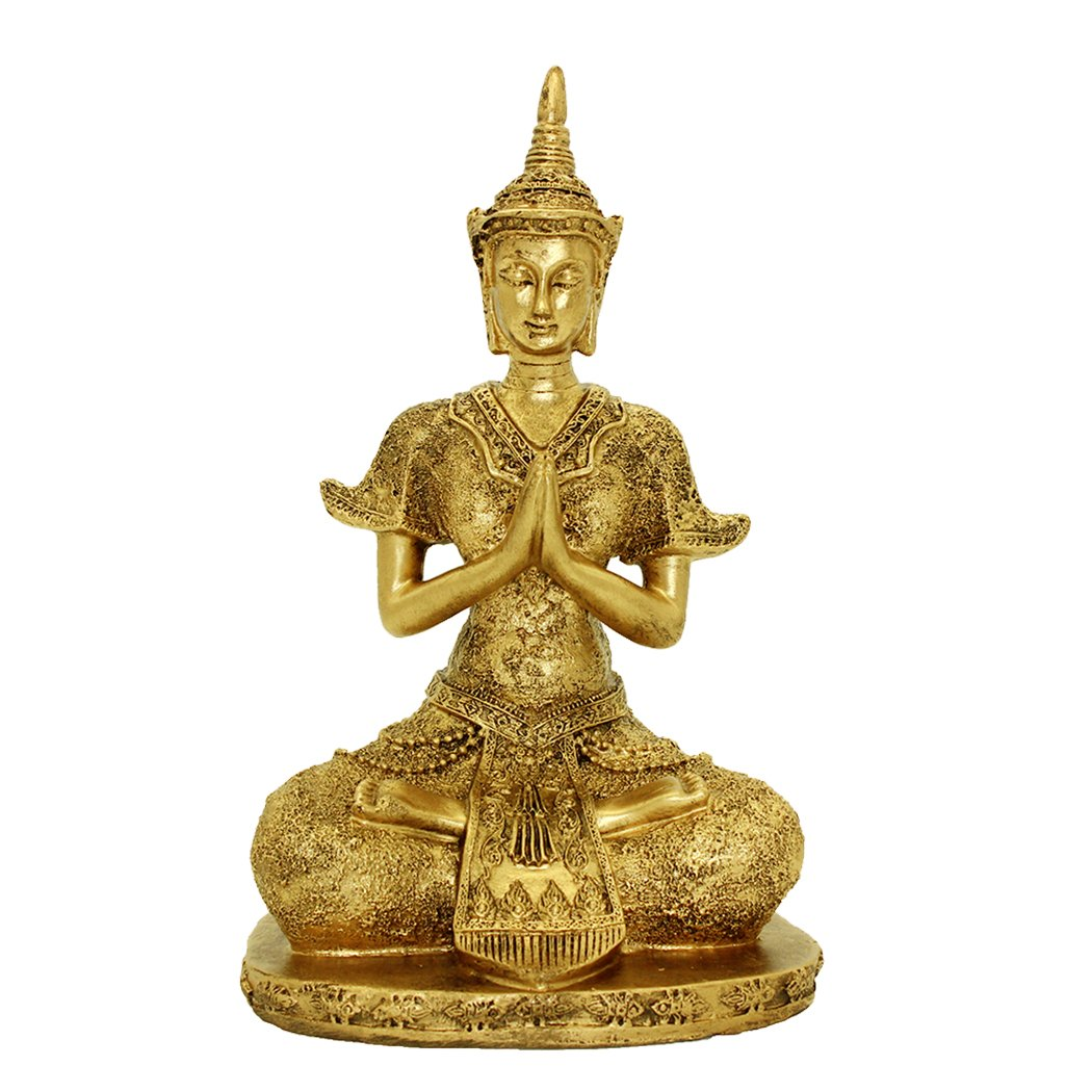 "10.63""(H) Handmade Resin Tibetan Blessing Buddha Asian Art Decor Statue Gold Home Decor Sitting Buddha Statue BS110"