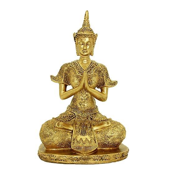 10.63 H Handmade Resin Tibetan Blessing Buddha Asian Art Decor Statue Gold Home Decor Sitting Buddha Statue BS110