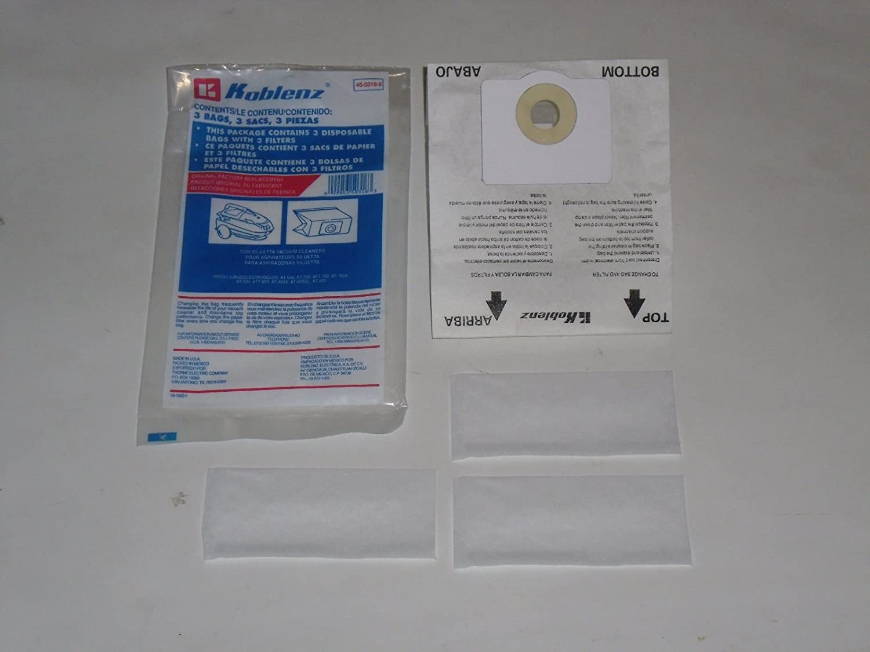 Koblenz Siluetta Canister Vacuum Paper Bags 3 Pk Plus 3 Filter Part # 45-0316-5 45-00316-5