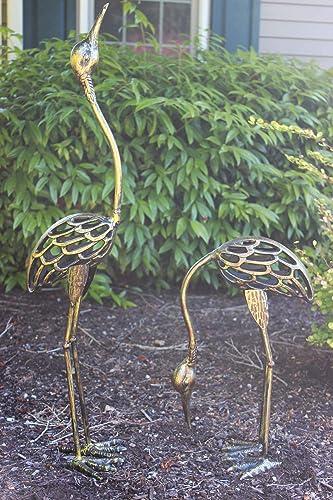 Seraphic Cast Iron Garden Decor Crane Bird Statue