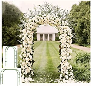 Adorox 7.5 Ft Metal Arch Wedding Garden Bridal Party Decoration Arbor (1, Green 1 PC)