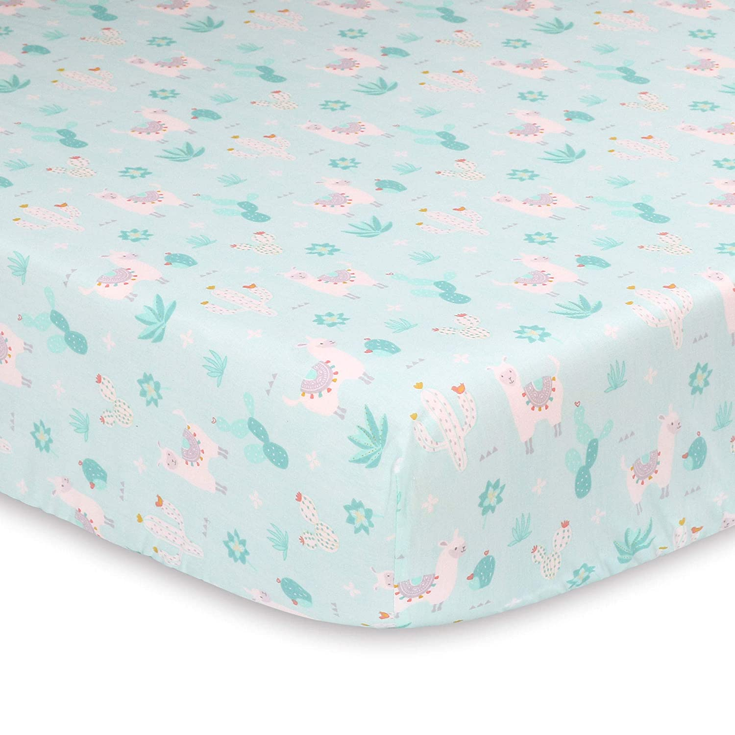 Little Llama Mint Green and Grey Baby Fitted Crib Sheet