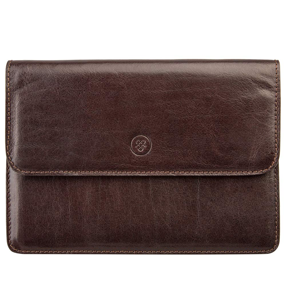 Maxwell Scott Handcrafted Leather Travel Document Wallet - Torrino Brown by Maxwell Scott Bags