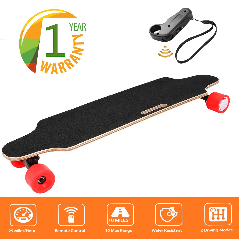 35.4'' Electric Skateboard 10km Range 250W Hub-Motor 2.9'' Wheels Longboard with Remote Controller Waterproof IP54 (Red)