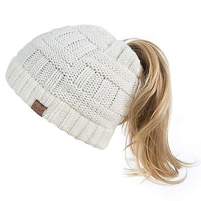 Winter Pony Tail Beanie Hat Woman Beanietail Messy High Ponytail Warm Knit Cap
