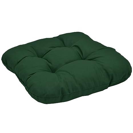 Beautissu Comodo y Suave cojín Lisa 40x40x8cm sillas de jardín - Verde - Suave Relleno voluminoso