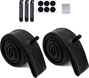 Calvana 2 Pack 22'' x 1.75/2.125 Replacement Inner Tubes with Tire Leveler and Round Patches for Bike with 22 Inch Tires. Made of Heavy Duty, Thick Butyl Rubber.