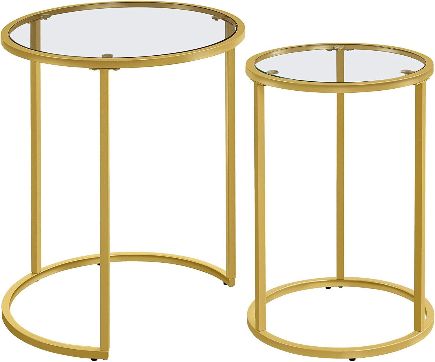 Iron Frame Bedroom Office Porch,Small Space,Gold YAHEETECH Nesting Table Set of 2,Coffee Tables Round Accent Table Set w//Glass Top Protective Foot Pads for Dining Room,Living Room