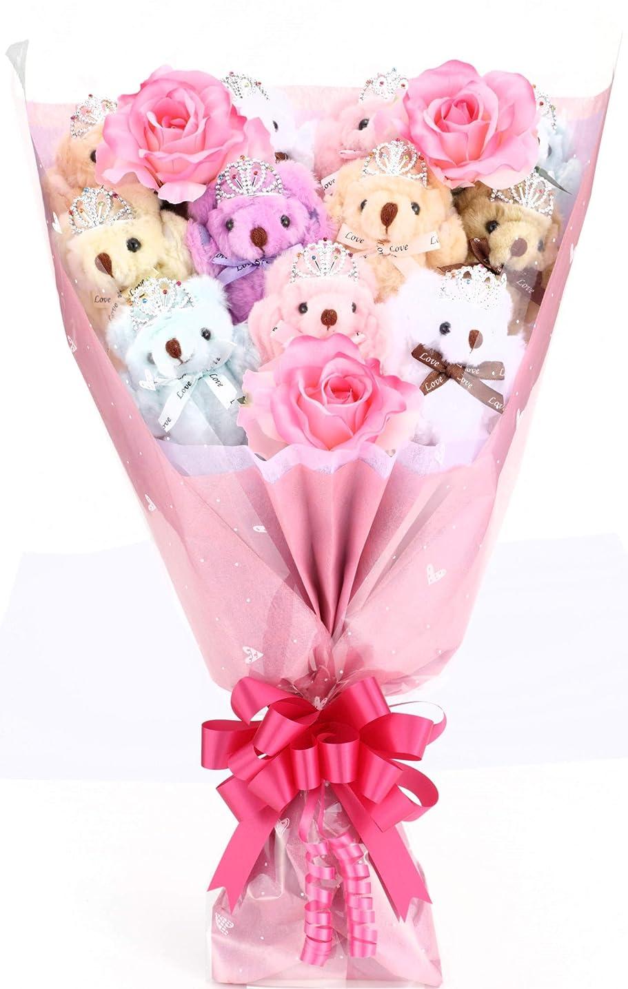 やさしく窒素何十人もnicoly ソープフラワー 花束 ブーケ テディベア セット プレゼント ギフト お祝い