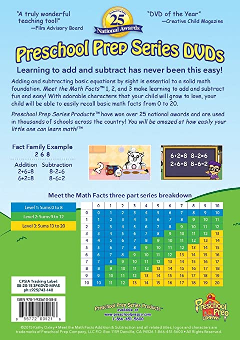 Amazon.com: Meet the Math Facts Addition & Subtraction - 3 DVD Boxed ...