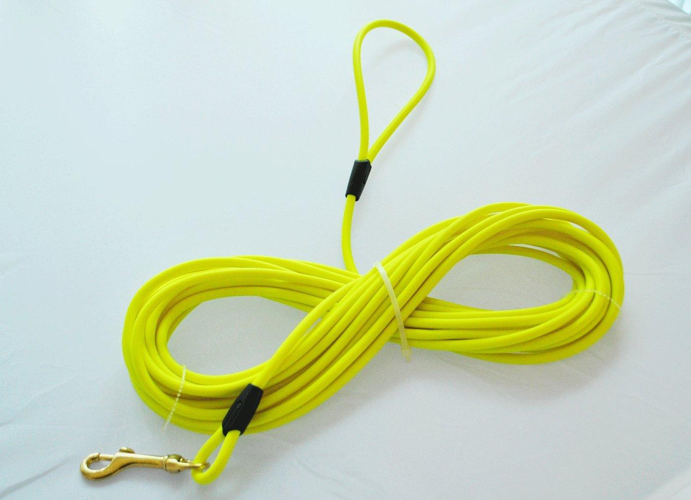 Bio-leine Laisse en biothane 10mètres jaune fluo ronde avec dragonne bio-leine.de