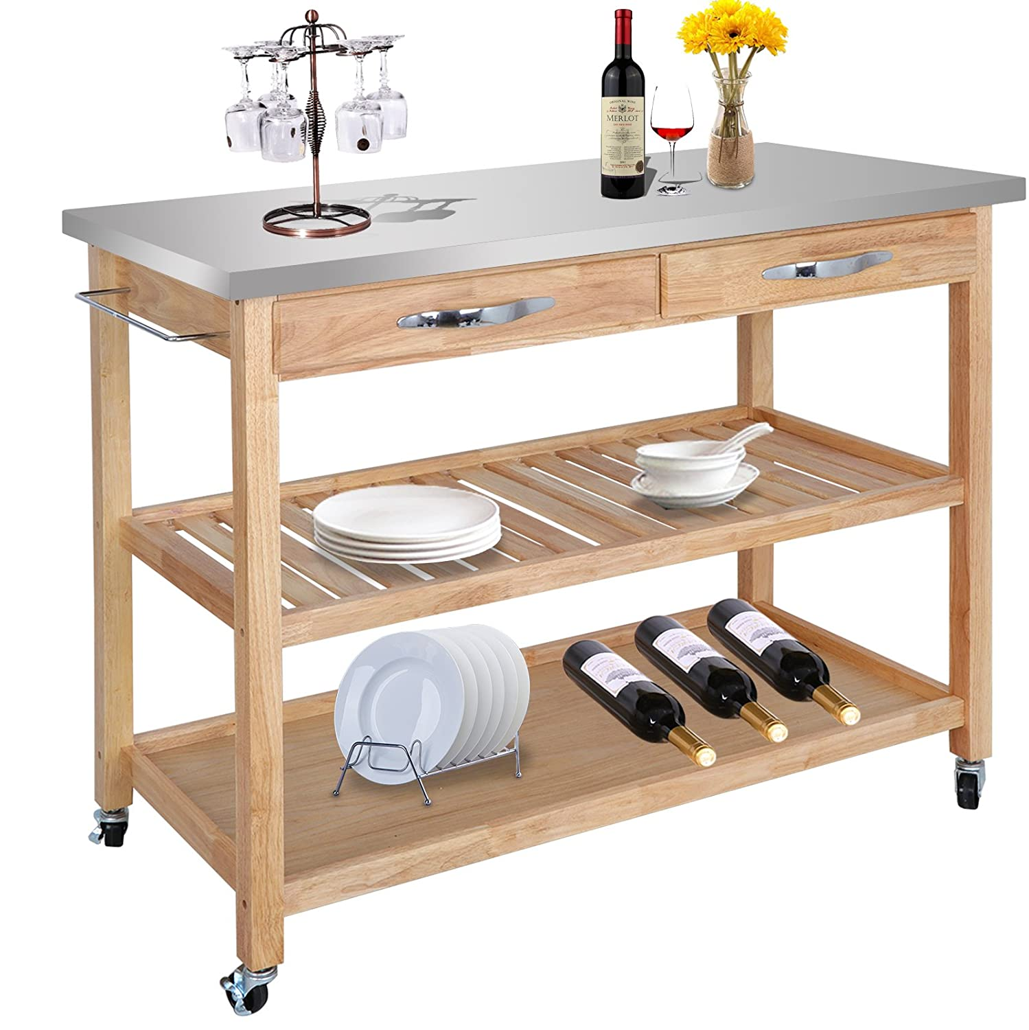 ZENY Natural Wood Kitchen Cart Rolling Kitchen Island Utility Serving Cart  w/Stainless Steel Countertop, Drawer, Shelves & Cabinet for Storage