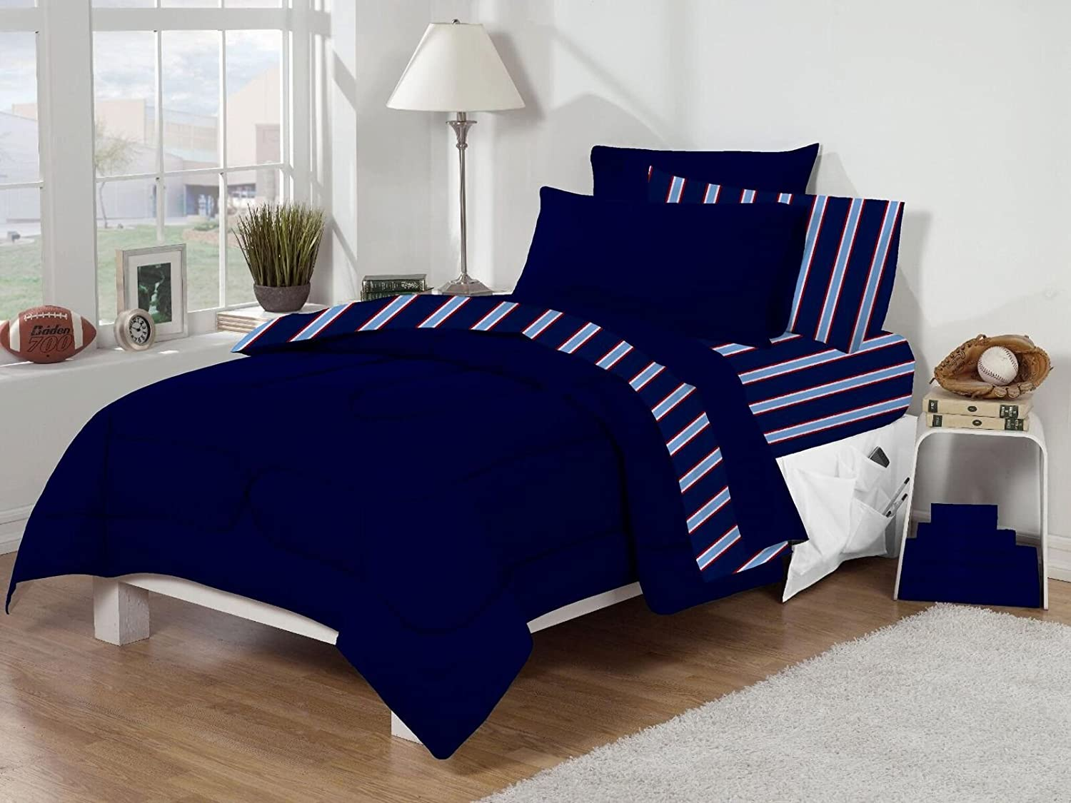 Marvelous Twin XL Dorm Room Bedding Set   Navy Stripe Part 24
