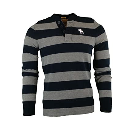 fdd5073c Abercrombie Men's Long Sleeve Muscle Fit Henley T-Shirt, Size 2XL, Navy and