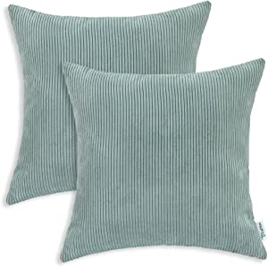 CaliTime Pack of 2 Cozy Throw Pillow Covers Cases for Couch Bed Sofa Ultra Soft Corduroy Striped Both Sides 20 X 20 Inches Duck Egg