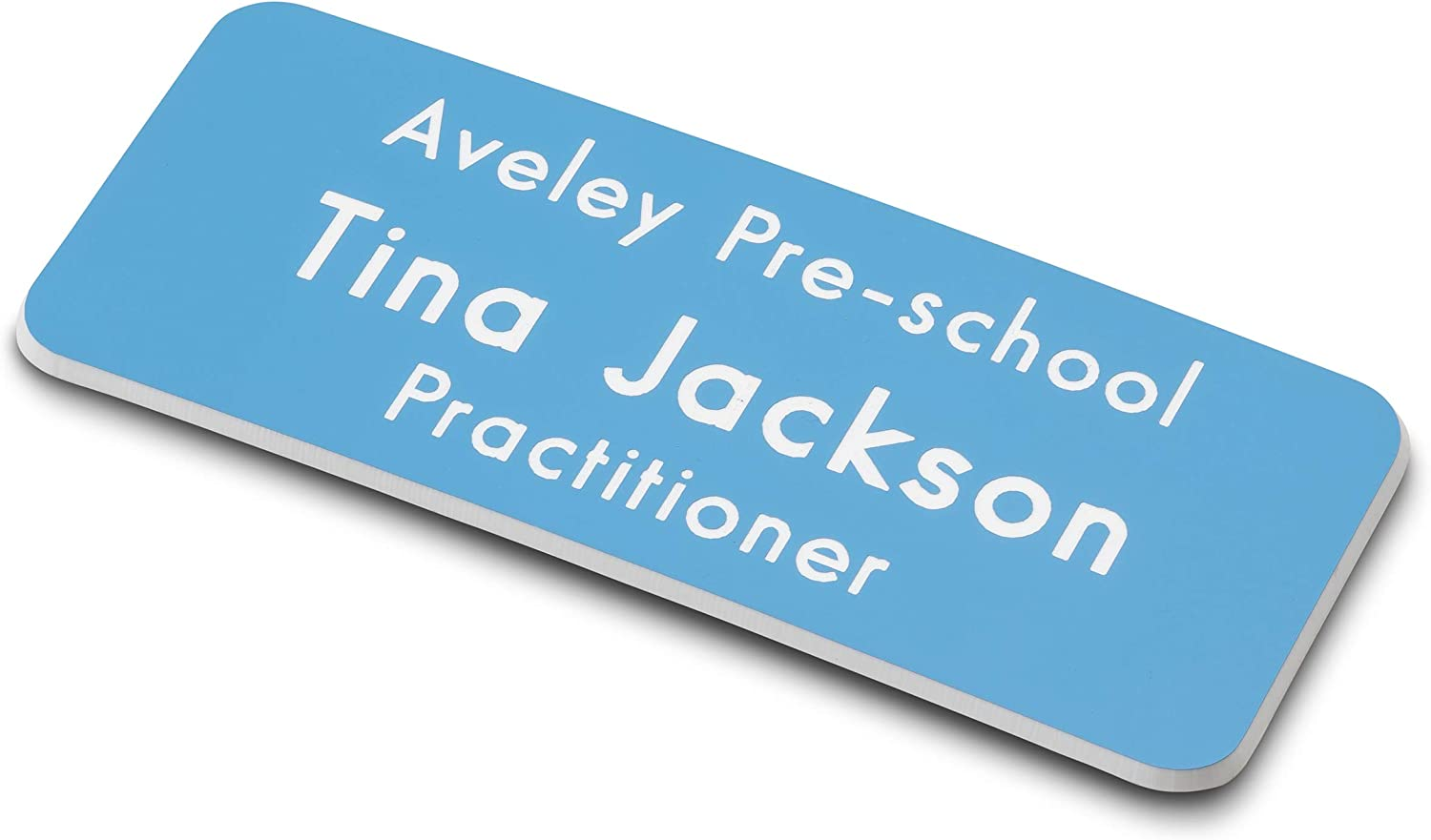 ENGRAVING WORLD Sky Blue//White Round Corner Engraved Office Staff Name Badge Magnetic Fixing