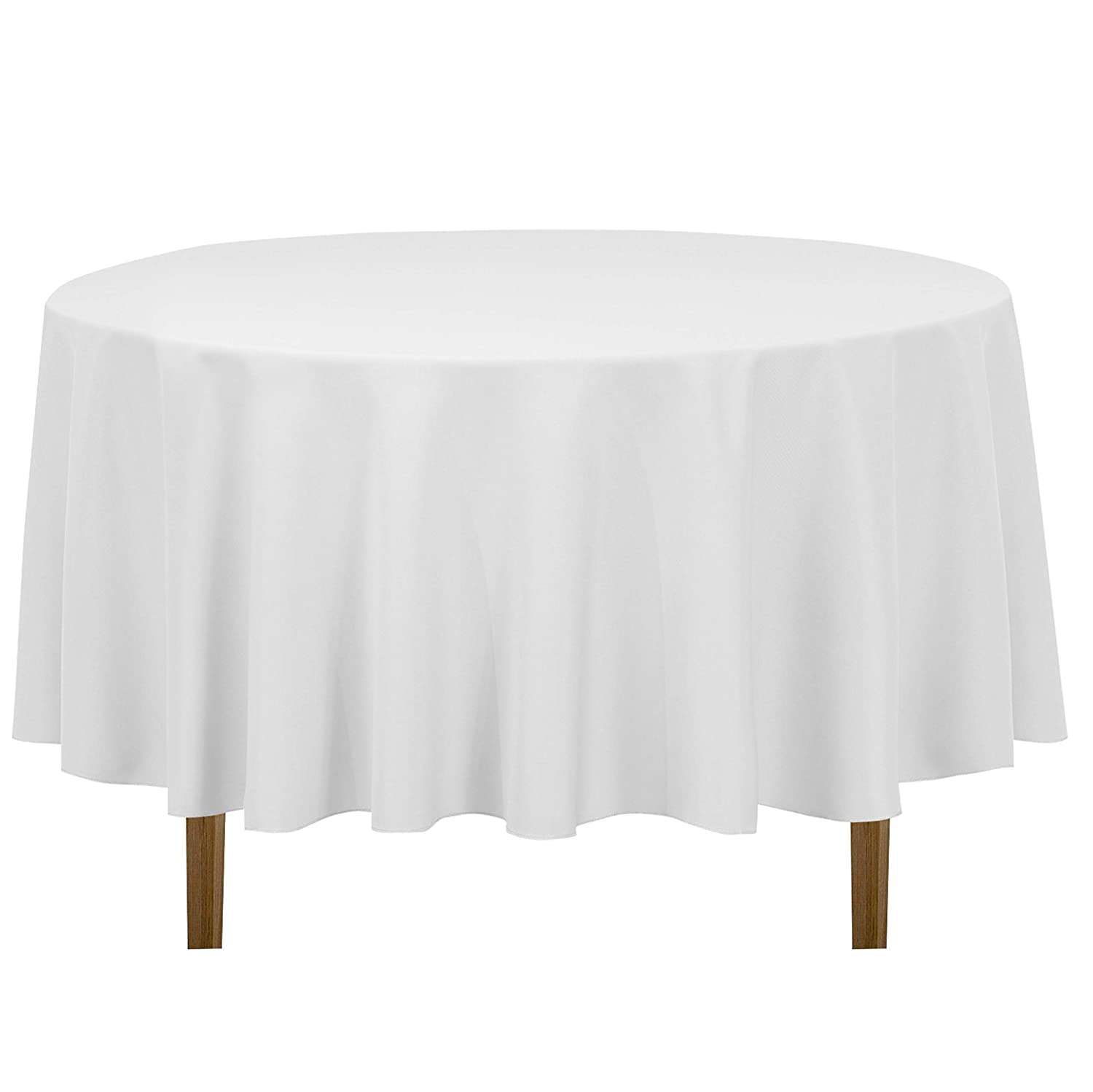 LinenTablecloth 90-Inch Round Polyester Tablecloth,White