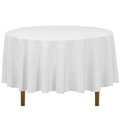 Superb LinenTablecloth 90 Inch Round Polyester Tablecloth, White