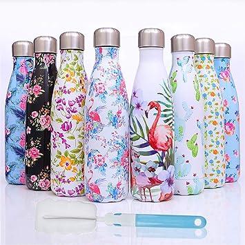 Botellas Agua Acero Inoxidable 500ml?de Doble Pared de Aislamiento al vacío Botella termica - a Prueba de Fugas+Cepillo de Limpieza