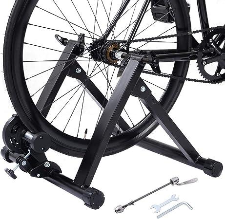 COSTWAY Bicicleta Estática Soporte Rodillo de Ciclismo Entrenamiento Plegable Carga Máxima hasta 150 kg Color Negro