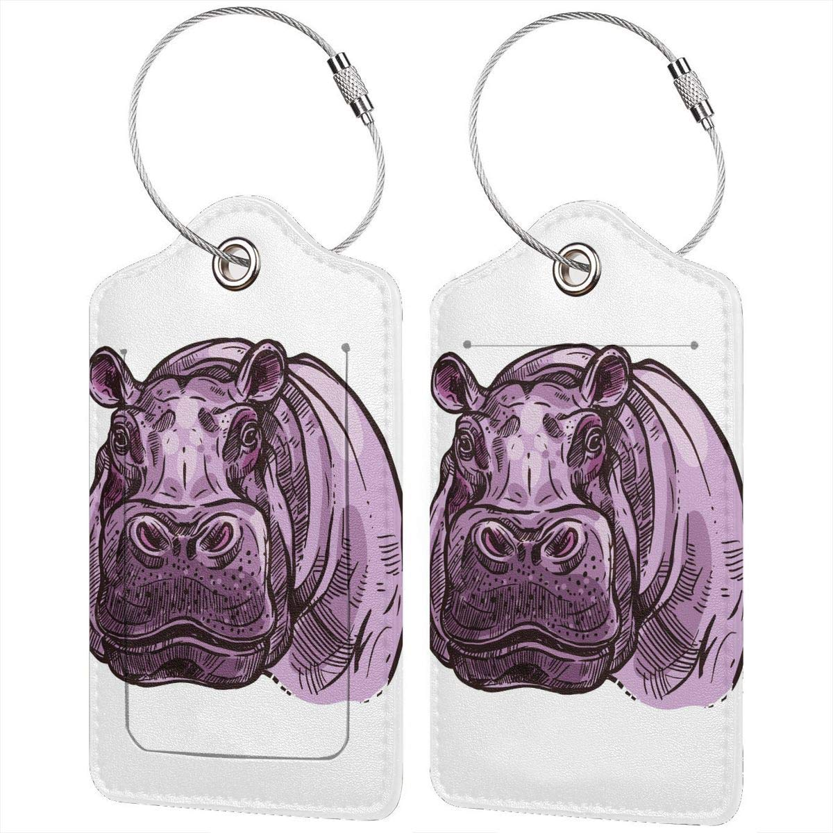 Animal African Mammal Hippopotamus Travel Luggage Tags With Full Privacy Cover Leather Case And Stainless Steel Loop