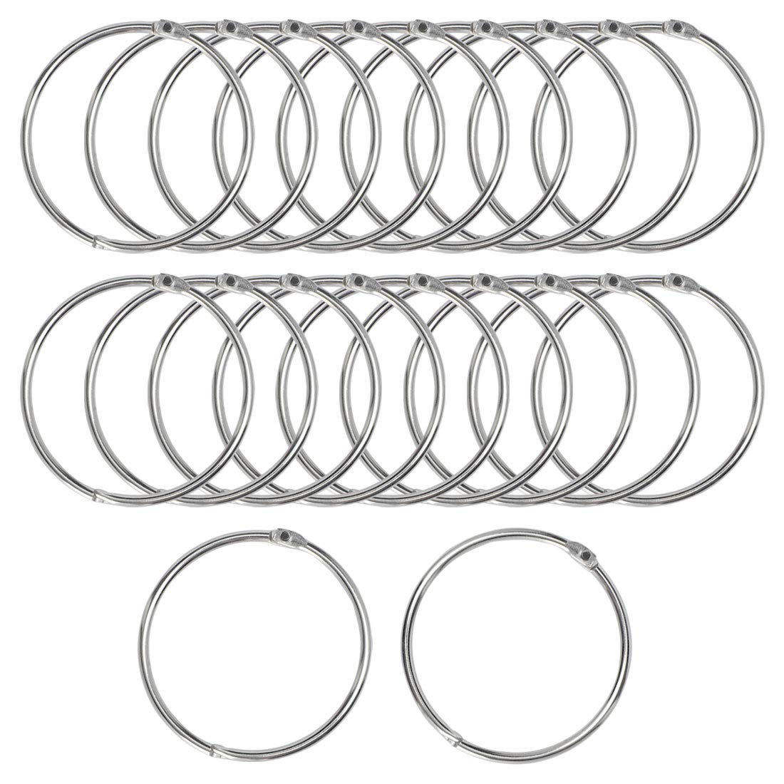 uxcell 20 Pack Metal Curtain 3 Inch Snap Joint Drape Ring Loops for Bathroom Curtain Rods Plating Finish, Silver Tone