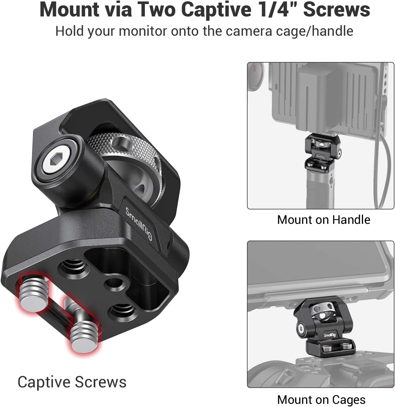 2904 SMALLRIG Field Monitor Mount Monitor Holder Swivel and Tilt Adjustable with Screws Mount for 5 and 7 Monitor