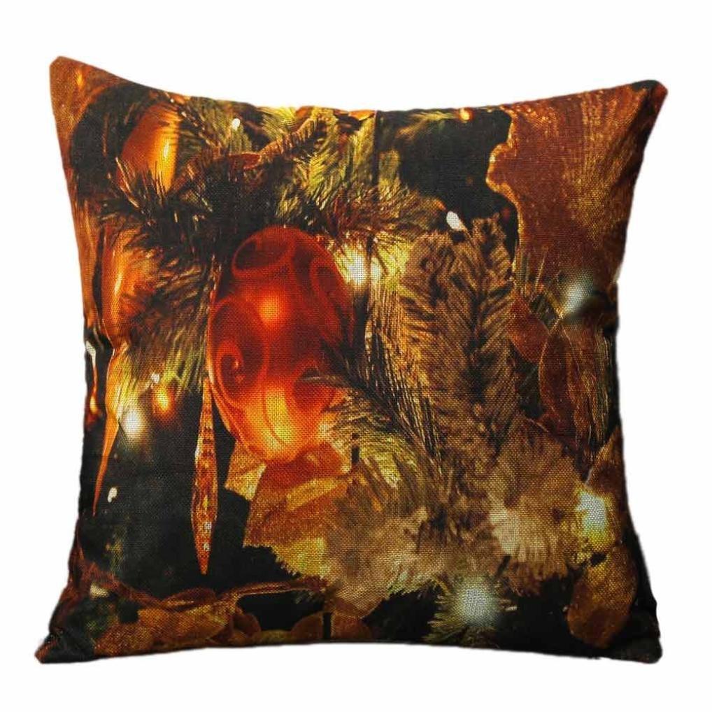 Ronamick Weihnachten Kissenbezug Kissenhü lle 45x45cm Beleuchtung LED Sofa Bett Home Decorative Weich Fall Auto Haus Gedruckt Muster Atmungsaktiv (A)