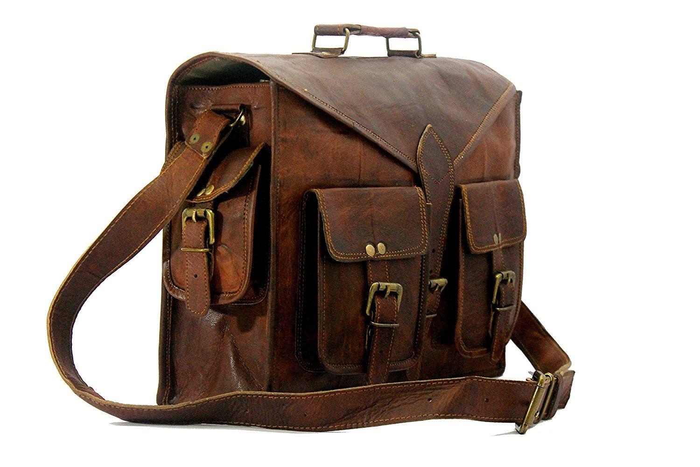 Handmade World Genuine Messenger Bag Leather Laptop Bags Computer Satchel Briefcase (18 Inch) by Handmade World (Image #2)