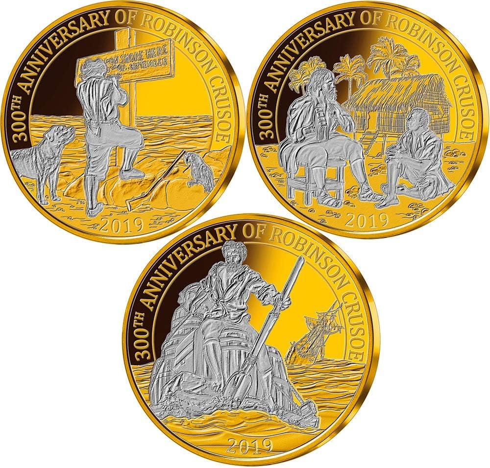 Power Coin Robinson Crusoe 300 Aniversario Set Monedas Chapado Oro 25 Centavos Barbados 2019: Amazon.es: Juguetes y juegos