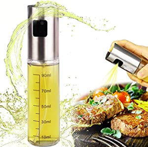 Olive Oil Sprayer for Cooking, Food-Grade Glass Oil Spray Mister Bottle, Olive Oil Graduated Dispenser with 304 Stainless Steel Sprayer Head for BBQ, Salad, Kitchen Baking, Frying, Roasting