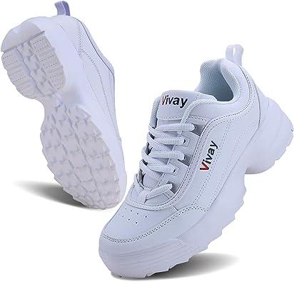 Vivay - Zapatillas de Tenis para Mujer, Ligeras, Impermeables, Informales, para Caminar, Correr, para Mujer, Antideslizantes, Blanco (Blanco), 39 EU: Amazon.es: Zapatos y complementos
