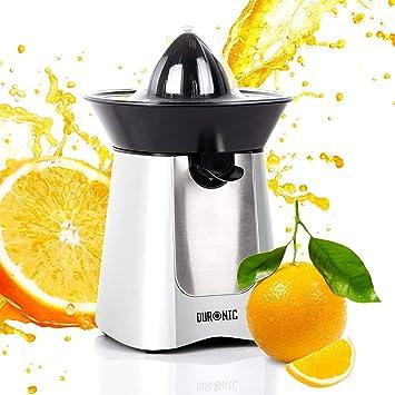 Duronic JE6 SR Exprimidor Naranjas de 100W Eléctrico Surtidor Antigoteo Filtro Regulador de Pulpa, 2 Conos y Tapa