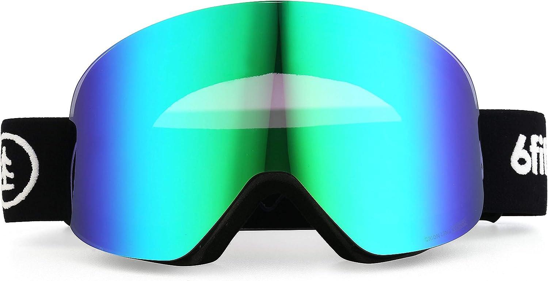 6fiftyfive – Ski Goggles Men and Women – Frameless, Full REVO Coating, Anti Fog, Magnetic Interchangeable Lens, 100 UV400, OTG – Ski, Snowmobile and Snowboard