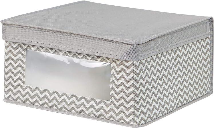 InterDesign Axis Cajas organizadoras con Tapa para Ropa o Zapatos, Cajas de almacenaje Medianas de Polipropileno con Ventana, Gris Topo y Crudo: Amazon.es: Hogar