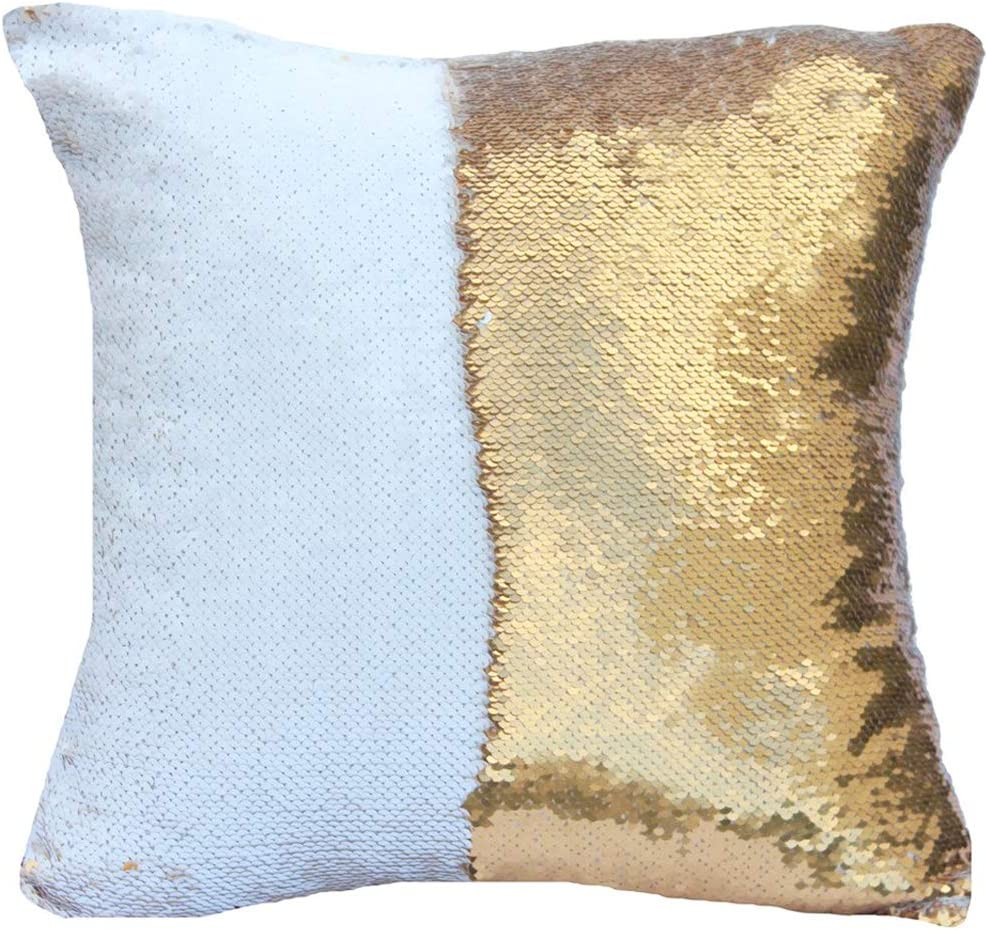 Amazon Com Urskytous Reversible Sequin Pillow Case Decorative Mermaid Pillow Cover Color Changing Cushion Throw Pillowcase 16 X 16 White And Gold Home Kitchen