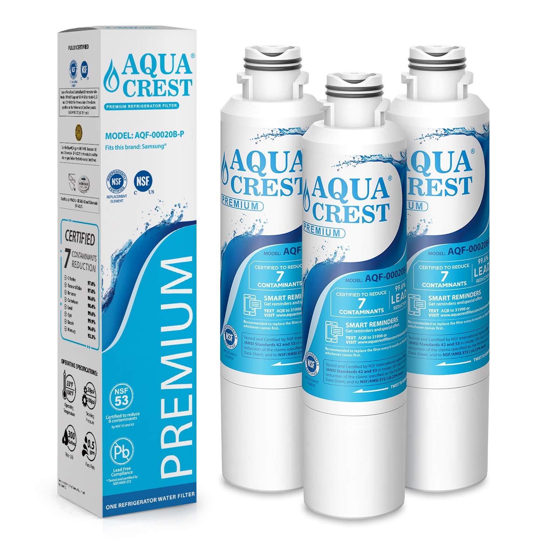 AQUACREST DA29-00020B Refrigerator Water Filter, NSF 53&42 Certified to Reduce 99% of Lead, Cyst & More, Compatible with Samsung DA29-00020B, DA29-00020A, DA97-08006A, HAF-CIN/EXP, 46-9101 (Pack of 3) by AQUA CREST