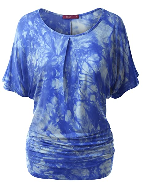 5bf977809826d Doublju Womens Short Sleeve Tie-Dye Batwing Dolman Top Wth Ruched Sides  BLUE SMALL