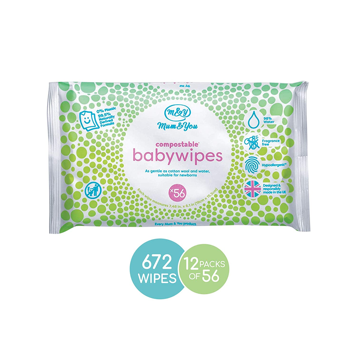 Mum & You Biodegradable and Compostable Plastic Free Baby Wet Wipes, 672 Count (12 Packs of 56) - 98% Water, 0% Plastic, Hypoallergenic & Dermatologically Tested