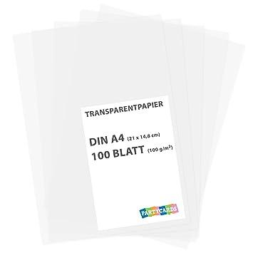 Perfekt Transparentpapier 100 Blatt Weiß Bedruckbar Zeichenpapier DIN A4 100 G/m²  Scrapbooking Abpausen Basteln Bastelpapier
