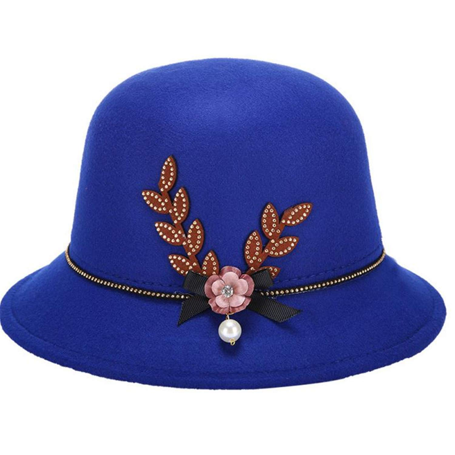 Zesoma Flower Pearl Bow-Knot Decorated Felt Cap Warm Easy Match Lady Bowler Hat
